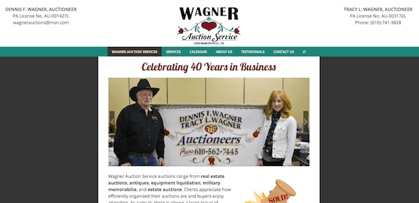 Wagner Auction Services Designed by goMAaVA