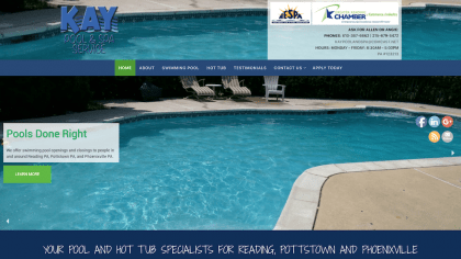 Kay Pool and Spa Services website was design and is maintained by Interlace Communications in Shoemakersville PA