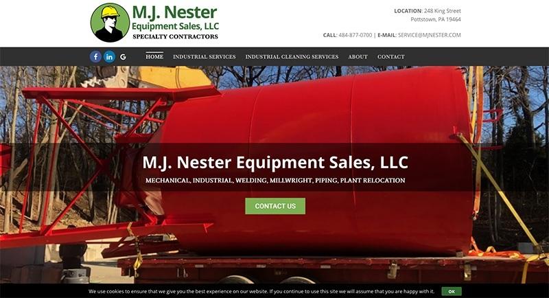 M.J. Nester Equipment Sales, LLC website was designed by Interlace Communications