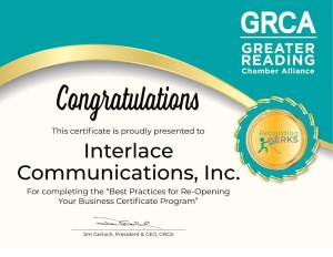 Interlace Communications is certified with Greater Reading Chamber Alliance in Best Practices for Re-Opening Your Business