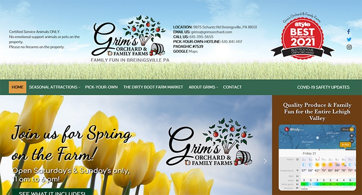 Grim's Orchard and Family Farms website was designed by Interlace Communications.