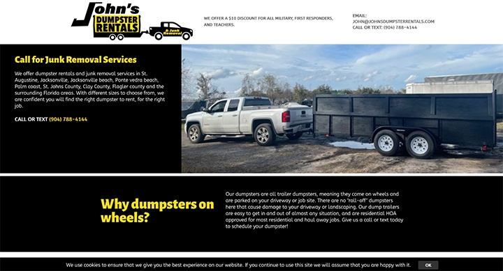 John's Dumpster Rentals was designed by Interlace Communications.