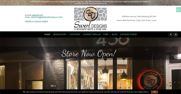 Swerl Designs website was designed by Interlace Communications in Shoemakersville PA