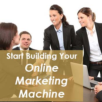 start building your online marketing machine text over background of business people
